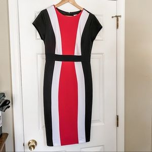 New York & Company Color Block Midi Dress